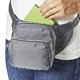 Smooth Trip RFID Blocking Adjustable Waist Pack with CoolMax and Agion Antimicrobial (Gray)