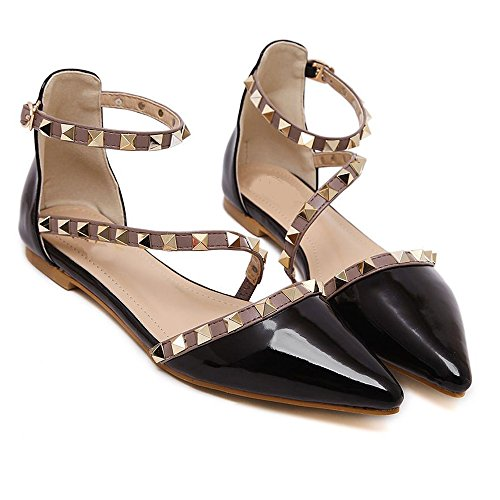Maybest Women Patent Leather Rivets Flats Shoes Sexy Pointed Toe Pump Black 9 B(M) US - Patent Gladiator Shoes