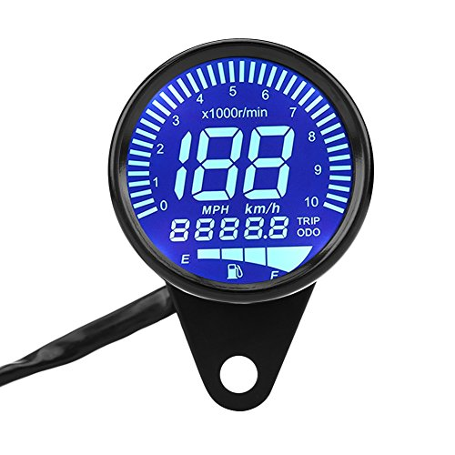 Motorcycle Speedometer Gauge, Keenso 12V DC Universal Motorcycle Waterproof LED Backlight Digital Speedometer Tachometer Speed Gauge Oil Level Meter Voltmeter Voltage Black