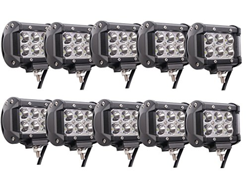 (Led Spot Light Bar Lumitek 10PCS 18w Led Work Lights 4Inch Led Fog Light Driving Lights Led Off Road Lights for Trucks SUV Jeep Lamp Boat)