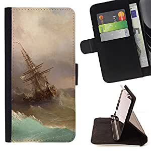 "For Sony Xperia M4 Aqua,S-type Tormenta Pintura Vela Waves Arte"" - Dibujo PU billetera de cuero Funda Case Caso de la piel de la bolsa protectora"
