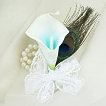 Lily Garden Picasso Calla Lily & Peacock Feathers Boutonniere Corsage (Turquoise Wrist)