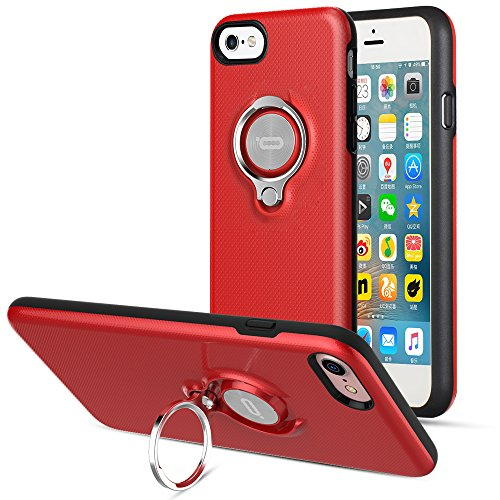 (iPhone 8 Case, iPhone 7 Case by ICONFLANG, 360 Degree Rotating Ring Kickstand Case Shockproof Impact Protection Function Can Work with Magnetic Car Mount case 2018- Red )