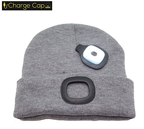 Replace Battery Led (CHARGE CAP USB LED headlamp BEANIE - Activewear LED headlamp. Remove + Recharge bright LED lights, NO BATTERIES TO REPLACE, LED Beanie hat)