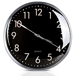 Egundo 13 Inch Large Number Silent Metal Wall Clock,Battery Operated Non Ticking Quartz Movement Big Hanging Home Decor Clocks Kids Girls Mother Bedroom Living Dining Room Kitchen Office(Black)