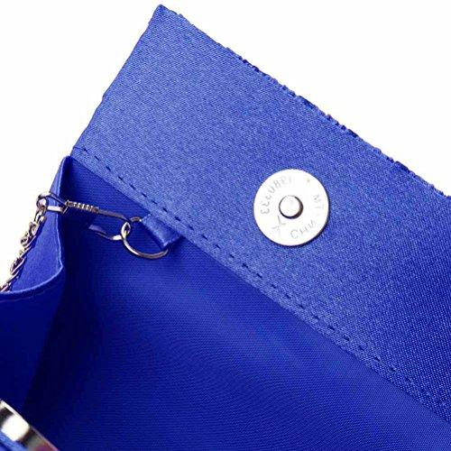 Rhinestone Evening Blue Satin Purse Womens Wedding Party Blue Pleated Clutch SUMAJU Wallet Handbag U0PEqawq