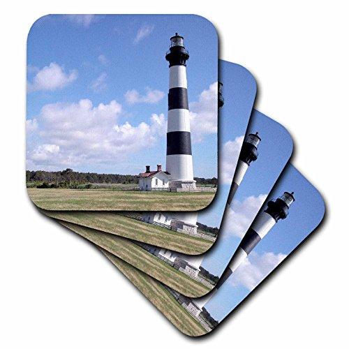(3dRose CST_93273_2 Nc, Bodie Island Lighthouse Keepers Quarters US34 LSE0014 Lynn Seldon Soft Coasters, Set of 8)