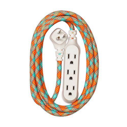 360 Electrical 360422 Habitat Accent Braided Extension Cord, 8 ft. - Poppy Fields ()