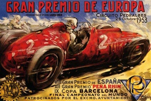 1953 Gran Premio De Europe Pedralbes Circuit Car Race Street Racing Course Barcelona Spain Large Vintage Poster Repro Amazon Ca Home Kitchen