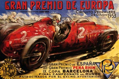1953 GRAN PREMIO DE EUROPE PEDRALBES CIRCUIT CAR RACE STREET RACING COURSE BARCELONA SPAIN LARGE VINTAGE POSTER REPRO