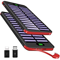 VNOOKY Portable Charger Power Bank 16000mAh Solar Charger with Built-in Micro Cable & Flashlight, One of the Slimmest and Lightest Battery Pack for iPhone, iPad, Samsung Galaxy & More (BLACKRED)
