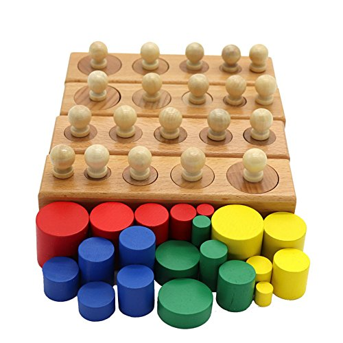 (QLL Montessori Materials Montessori Toys Educational Games Colorful Cylinder Socket Blocks Wooden Math Toys For Children)