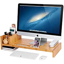 SONGMICS Bamboo Monitor Stand Riser with Adjustable Storage Organizer Laptop TV Printer Stand Desk Organizer for Home Study Dorm Office ULLD215N