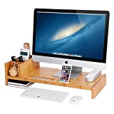 SONGMICS Bamboo Monitor Stand Riser with Adjustable Storage Organizer Laptop Stand Desk Organizer for Home Study Dorm Office ULLD215N For Sale