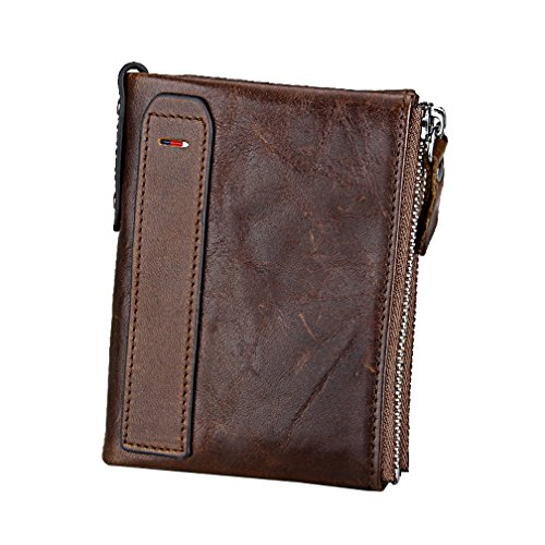 Men RFID Blocking Wallet Small Vintage Crazy Horse Leather Short Purse Bifold (4.8