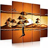Feeby. Multipart Canvas - 5 panels - Wall Art Picture, Image Printed on Canvas, 5 parts, Type B, 200x100 cm, ABSTRACTION, SAVANNA, AFRICA, SUNRISE, TREES, YELLOW, ORANGE