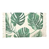 OJIA Cotton Reversible Rag Rug Hand Woven Multi Color Striped Chindi Area Rug Entryway For Laundry Room Kitchen Bathroom Bedroom Dorm (20 x 32 Inch, Palm Leaves)