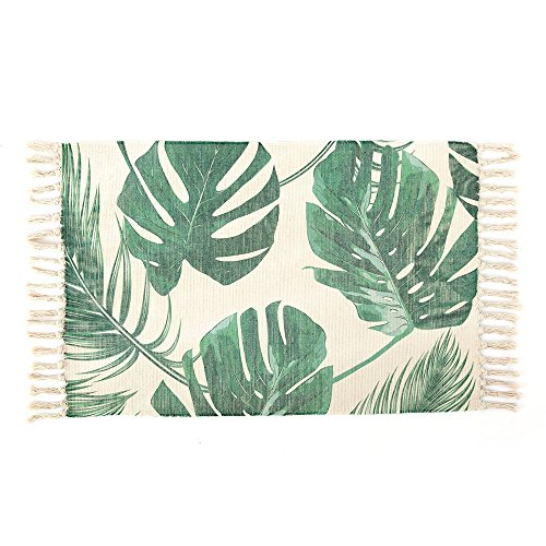 OJIA Cotton Reversible Rag Rug Hand Woven Multi Color Striped Chindi Area Rug Entryway For Laundry Room Kitchen Bathroom Bedroom Dorm (20 x 32 Inch, Palm Leaves) - Palm Leaf Shade