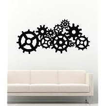 Steampunk Wall Decals Gear Cogs Geometric Machine Circles Mechanism Decor Stickers Vinyl MK1536