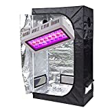 TopoGrow LED 300W Grow Light kit W/36''x20''x63'' 600D Grow Tent With Green Viewing Window Package for Plant Germination Kits Indoor Hydroponics System, LED300W/36''X20''X63'' D-door W/Window