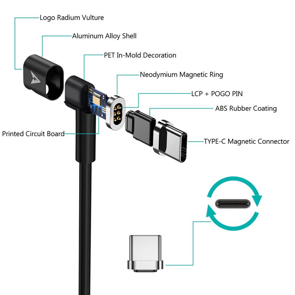 MagSafe cavo type c per Samsung S8 Lanhiem Ricarica Rapida 4.3A 87W Elecjet Cavo Magnetico Usb Type C Chromebook Pixeland other Type C Devices. Compatibile QC 3.0 e PD 6 Pin Reversibile