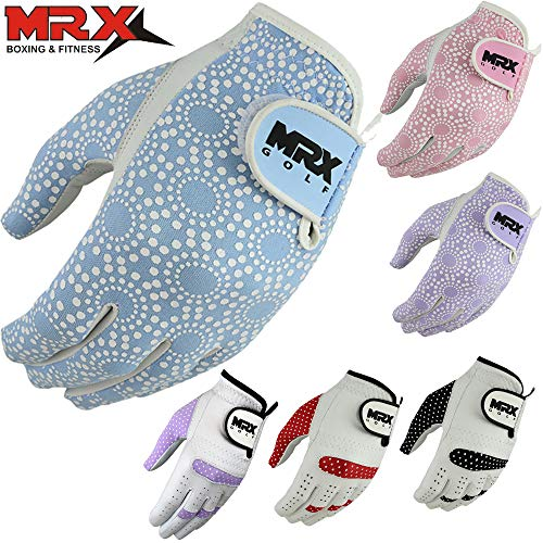 MRX BOXING & FITNESS Women's Golf Glove Soft Cabretta Leather Regular Fit Women Golfer Gloves Left Hand (Sky Blue-XLarge)