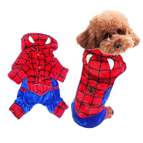 KINGSWELL Halloween Spider-Man Pet Costume Funny Cat Dog Cosplay Hoodie Cold Weather Coats Clothes Autumn Winter Warm -