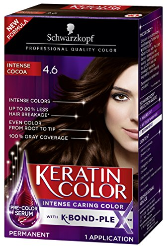 (Schwarzkopf Keratin Color Permanent Hair Color Cream, 4.6 Intense Cocoa (Packaging May Vary))