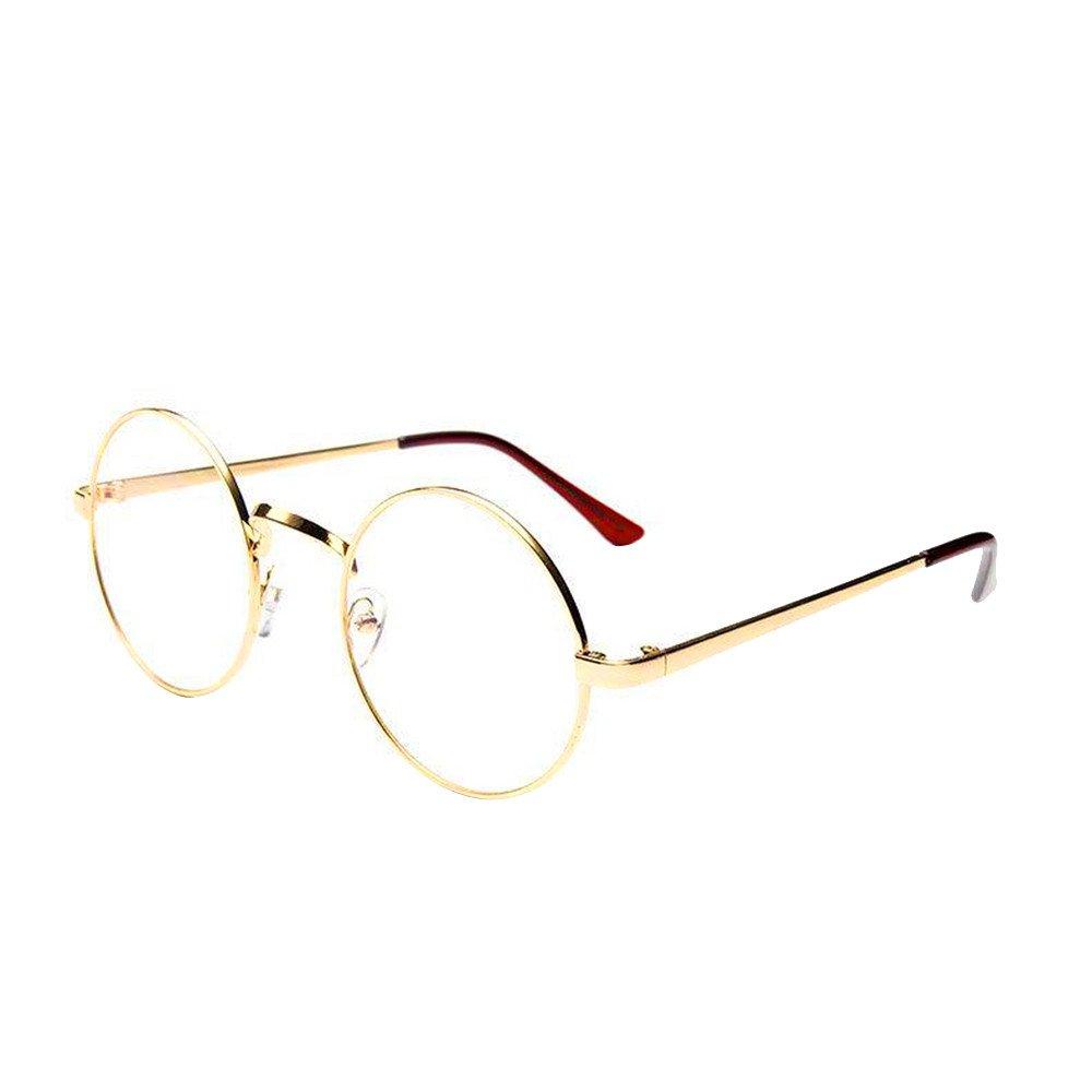 Unisex Klassische Brille Metallgestell Brillenfassung Vintage Brille Dekobrillen Bluelucon Damen Runde Rahmen Hoch Steg Klare Gl/äser Herren Vintage Brillenfassung Dekobrille