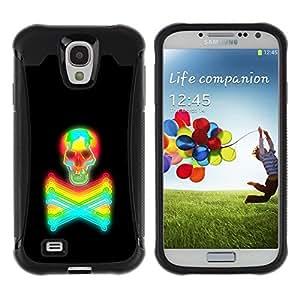 Suave TPU GEL Carcasa Funda Silicona Blando Estuche Caso de protección (para) Samsung Galaxy S4 IV I9500 / CECELL Phone case / / Black Colorful Vibrant Neon Skull Tattoo /