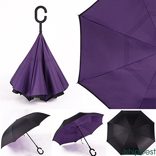 XENO-Reverse Parasols Sunny and Rainy Umbrella Windproof Inverted Folding - Map Harbor Sky