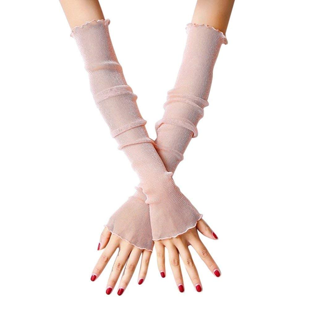 Women's Gloves Lace Arm Warmers Ice False Young Fashion Silk Solid Color Outdoor Mittens Fingerless (Color : Rosa, Size : One Size)