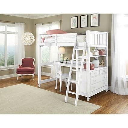 Amazoncom Ne Kids Lake House Twin Loft Bed With Desk In White