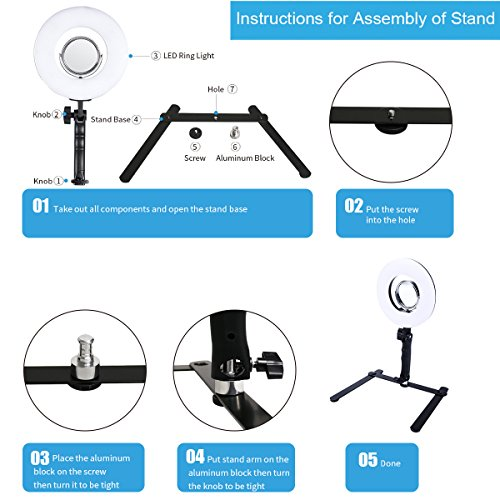 Table Top Photo LED Selfie Ring Light with Desktop Stand for Makeup 8-inch Dimmable 24W 5500K O Circular Beauty Lamp+3