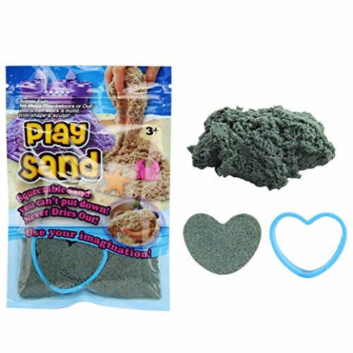 E-SCENERY Kinetic Play Sand, Magic Space Sand Castle Building Kit, Squeezable Beach Sand with Molds, Best Sand Toys for Kids (Blue)
