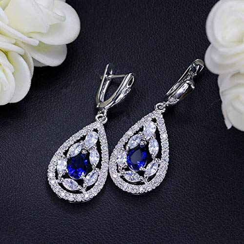 (Sparkling Cubic Marquise Shape Paved Silver Color Big Waterdrop Hoop Earrings for Women Party Jewelry E337 (Blue))