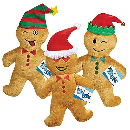 (Grriggles Holiday Gingerbread Emoji Men Plush Dog Toys (Wacky Tongue)