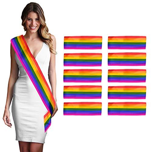 Mardi Gras Color Meaning (Rainbow Sash Gay Pride Parade - Set of 10 Premium DIY Blank Rainbow Flag Colors Satin Sash - LBGTQ Party Decorations &)