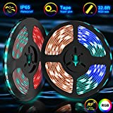 Led Light Strips,Tenmiro 32.8ft Led Strip Lights With 44key RF Remote Controller,Waterproof Color Changing RGB SMD 5050 300 LEDs Rope Lights, DC 12V5A Power Safety For Home Outdoor Lighting Decoration