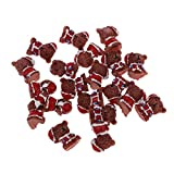 Prettyia 20 Pieces Dollhouse Miniature Bears with Red Clothes Christmas Party Ornaments Red