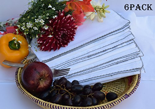 PACK of 6, 100% Cotton Whip Stitched Design - Pure Silver Dinnerware