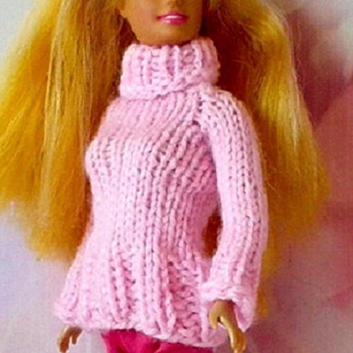 Pink Knitted Sweater For 12 inch Size Barber Dolls. Beautiful Cozy Fashion Outfit for Cold Evening