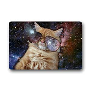 AfagaS Cool Cat Wear Big Sunglasses In Bright Star Space Rectangle Front Welcome Door Mat Outdoor Indoor Entrance Doormat Durable Heat-resisting Non-slip Rug Size 23.6x15.7 Inches