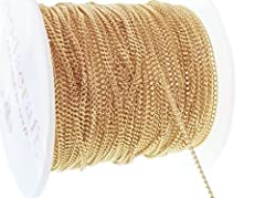 Light gold plated solid brass curb Cuban link chain                Qty: 10ft (3.1m)                       Size: 1.3w x 1.8l x .6h                       Links: Soldered, for extra durability                       Material: Brass      ...