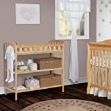Secure Changing Table with Pad, Allows Any Parent to Change Their Baby with Comfort and Ease, Keeping Your Baby Happy, Features 5 Safety Rail, Two Shelves Below, Natural + Expert Guide