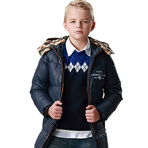 Leo&Lily Big Boys long Down Padded Puffer Jacket with Hood12 Navy