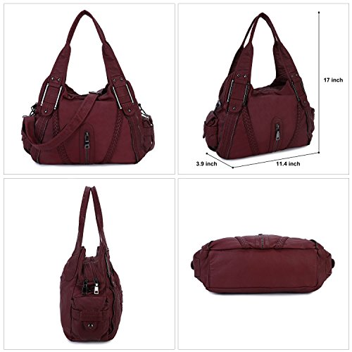 Leather Burgundy2 Purse Shoulder Women Bag Girls Large Washed Soft for Handbag PU Capacity Cross Body Grey qZvq4Sw