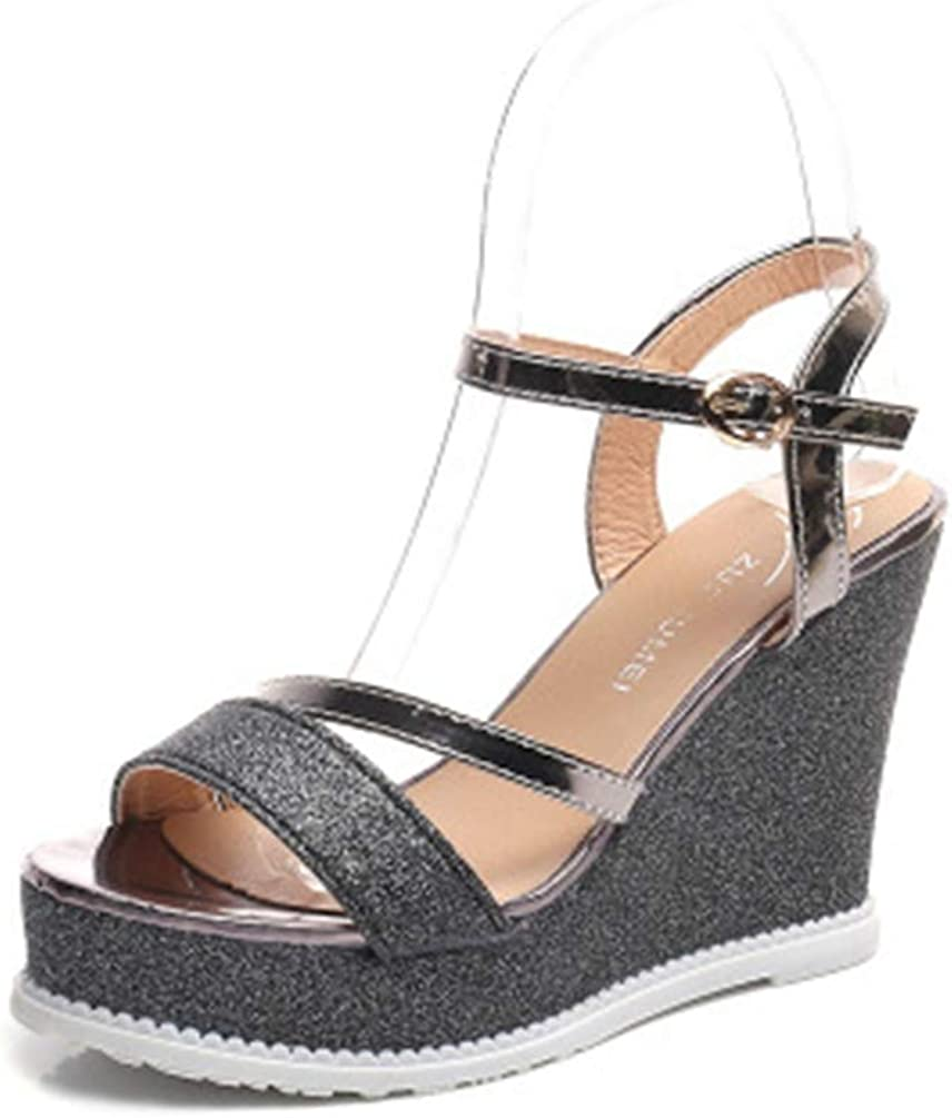 T-JULY Wedge Sandals for Women Platform Ladies Buckle Ankle Strap High Heels Open-Toe Casual Shoes for Summer