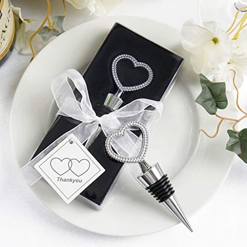 Efavormart Silver Metal Rhinestone Studded Heart Wine Bottle Stopper Wedding Favor With Velvet Gift Box - Lot of 25