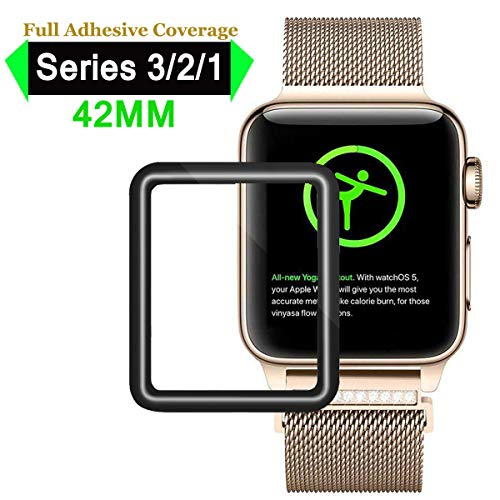 Apple Watch Screen Protector 42mm, iWatch Tempered Glass Screen Protector, Full Adhesive Coverage 3D Curved 9H Hardness Anti-Bubble Scratch-Proof Screen Compatible with Apple iWatch 42mm Series 1/2/3